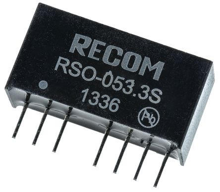 Recom RSO 1W Isolated DC-DC Converter Through Hole, Voltage in 4.5 ? 9 V dc, Voltage out 3.3V dc