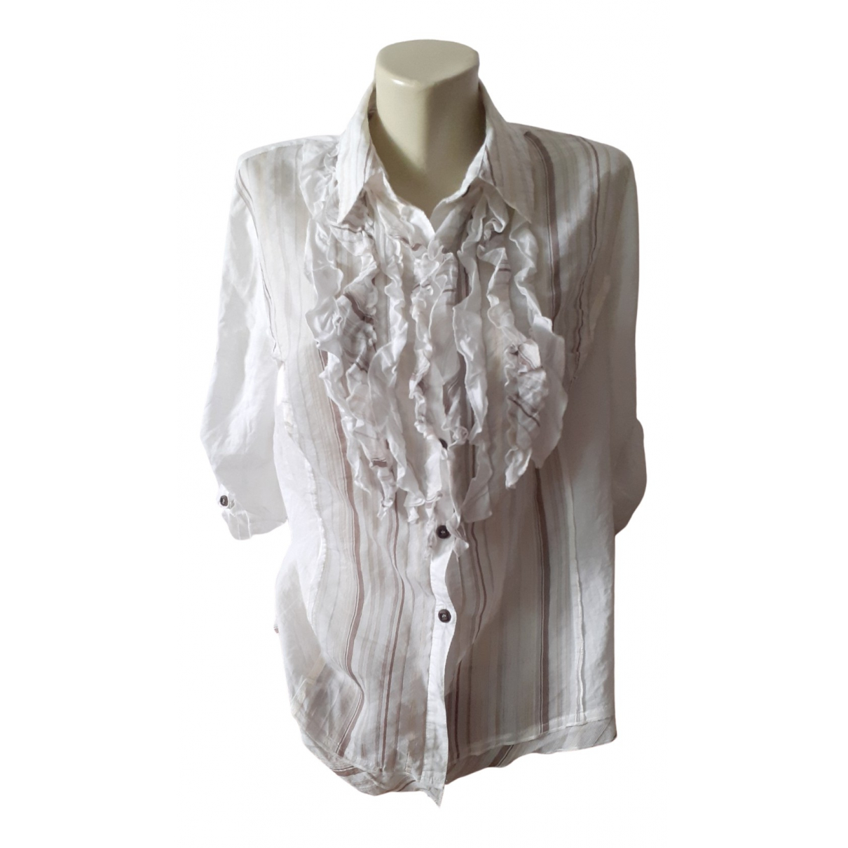 Non Signé / Unsigned N Beige Cotton  top for Women 42 FR