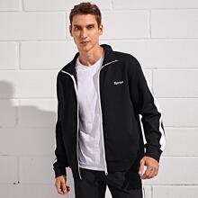 Sports Jacke mit Buchstaben Grafik und seitlichem Einsatz
