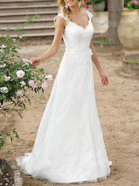 Milanoo Simple Wedding Dress A Line V Neck Sleeveless Sash Floor Length Bridal Gowns With Train