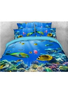 Fish in the Sea World Soft Warm Duvet Cover Set 4-Piece 3D Animal Bedding Set
