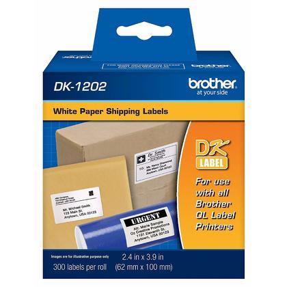 Brother DK1202 Originales Die-cut etiquettes papier Exp edition blanc, 2,4 po x 3,9 po,300 etiquettes