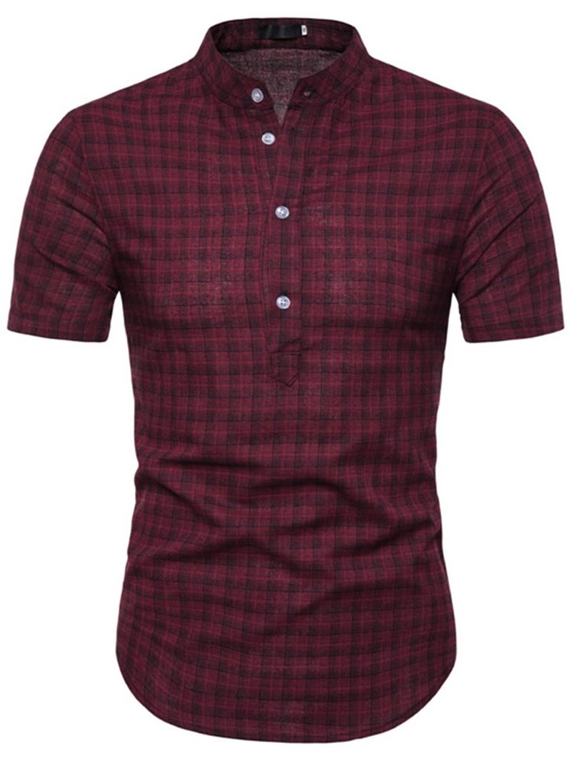 Ericdress Stand Collar Plaid Button Mens Slim Shirt