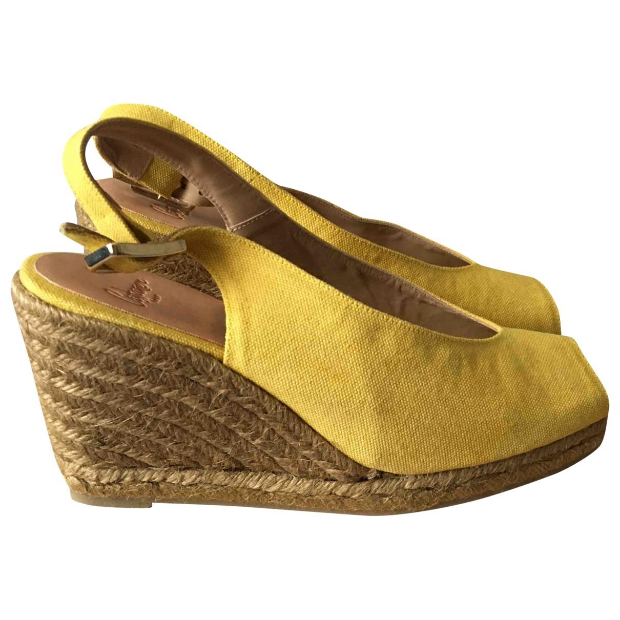 Castaner - Sandales   pour femme en toile - jaune