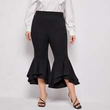 Einfarbige Hose mit hoher Taille und ausgestelltem Beinschnitt