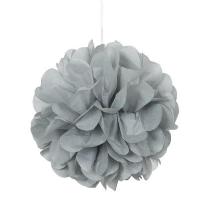Mini Puff Tissue Party Decorations Powder Silver 8'' 3Pcs