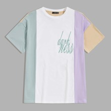 Guys Colorblock Letter Embroidery Top