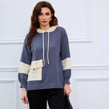 Jersey con capucha de color combinado con bolsillo con solapa