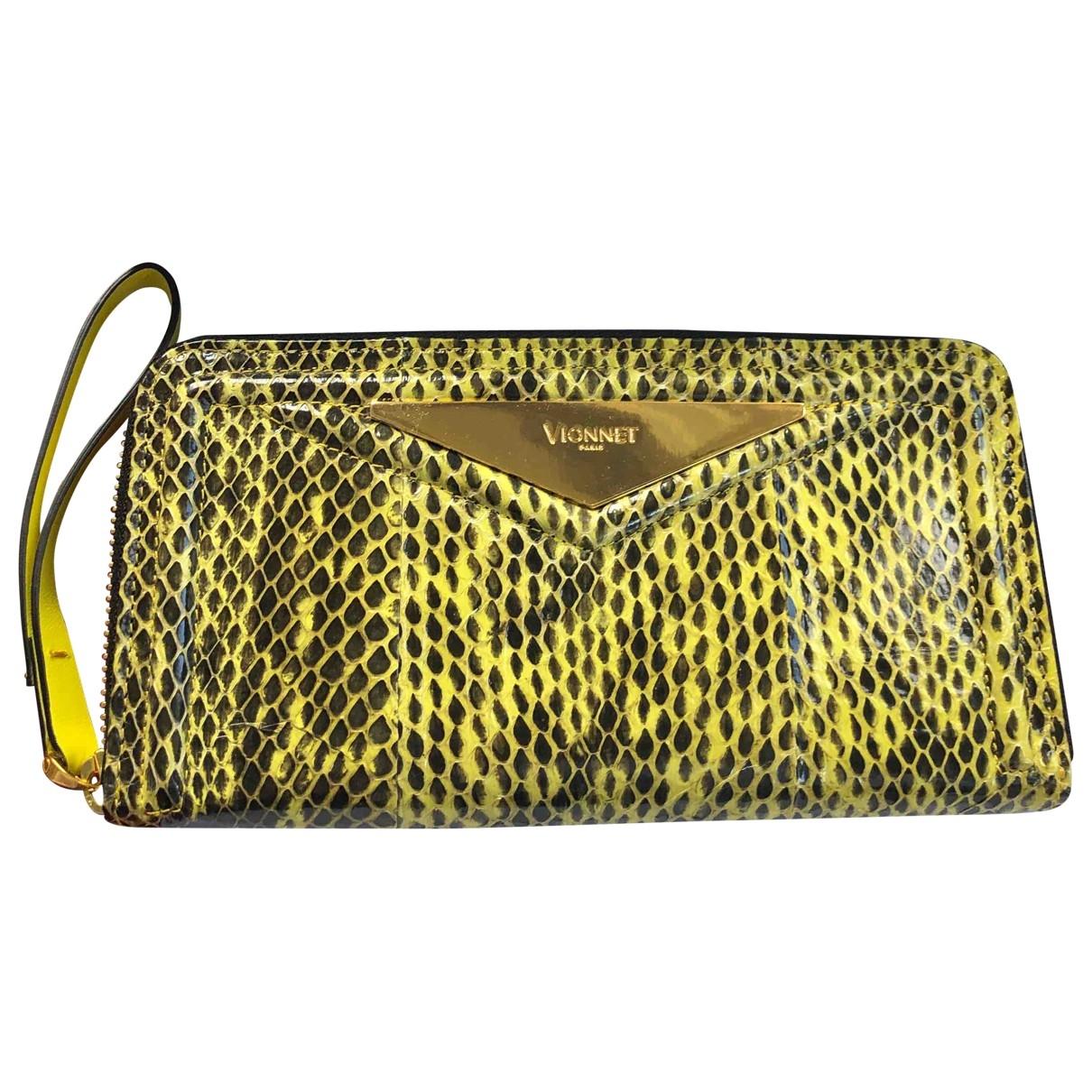 Vionnet \N Portemonnaie in  Gelb Python