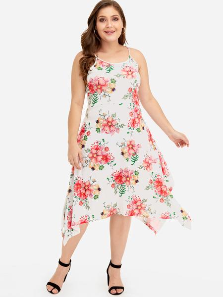 Yoins Plus Size Floral Print Sleeveless Dress