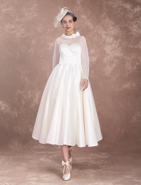 Milanoo Vestido de novia retro con manga larga hasta la pantorrilla Botones de linea A Jardin