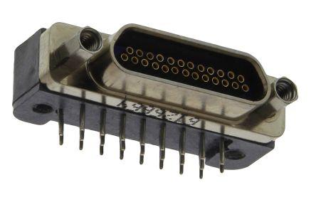 Glenair MWDM Series, 25 Way Right Angle Through Hole Micro-D PCB Connector Socket, 2.54mm Pitch