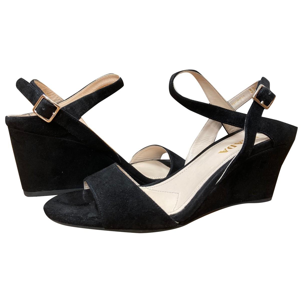 Prada \N Black Suede Sandals for Women 37 EU