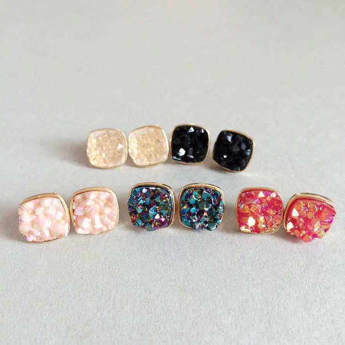 Trendy Women's Multi-colors Ear Stud Irregular Square Resin Stone Stud Earrings for Women Gift