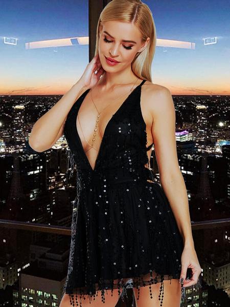 Yoins Black Sequins Embellished Deep V Neck Backless Dress