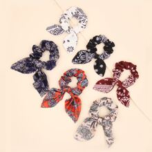 6pcs Paisley Bow Knot Decor Scrunchie