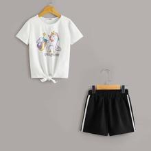 Conjunto de niñas camiseta bajo con cordon con estampado de unicornio con shorts de rayas