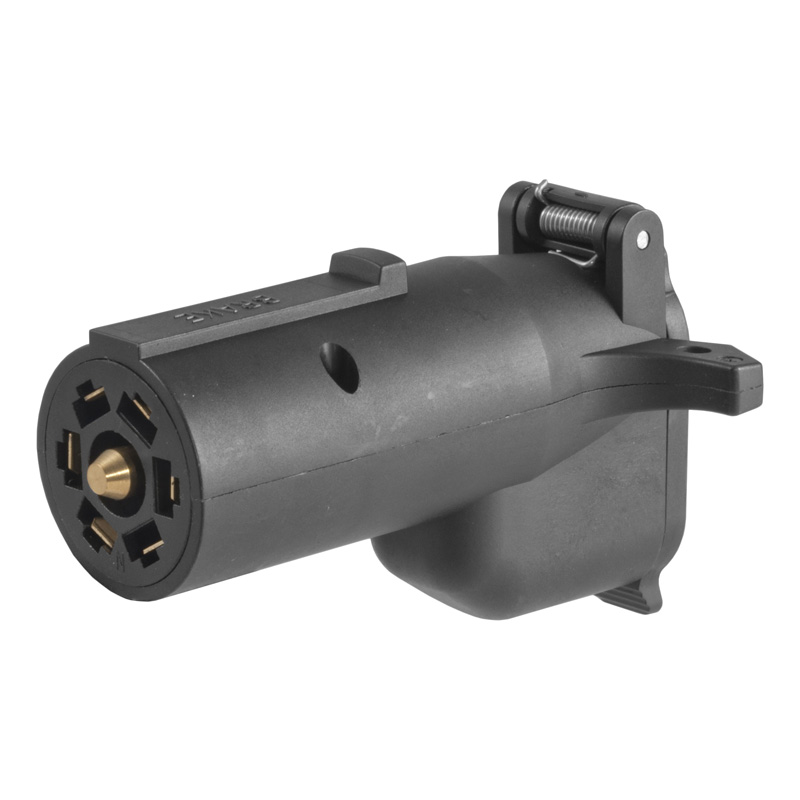 Curt 57720 Adapter with Alarm (7-Way RV Blade to 6-Way Round Trailer, Center Pin Brake)