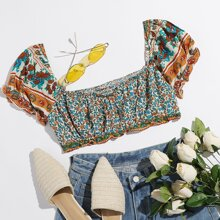 Shirred Back Puff Sleeve Paisley & Floral Print Crop Top
