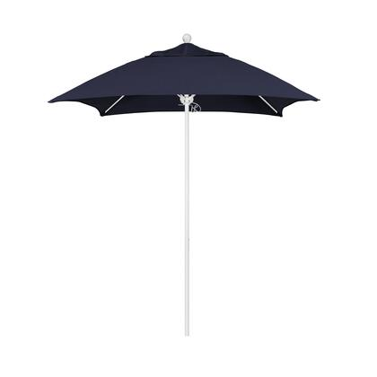 ALTO604170-5439 6' Venture Series Commercial Patio Umbrella With Matted White Aluminum Pole Fiberglass Ribs Push Lift With Sunbrella 1A Navy