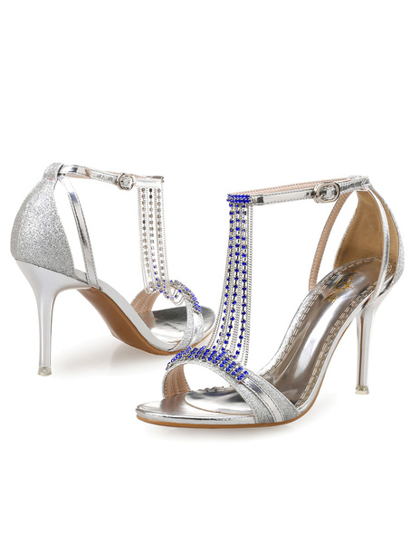 Milanoo Sexy PU Leather Rhinestone Chain Stiletto Heel Bridal Sandals