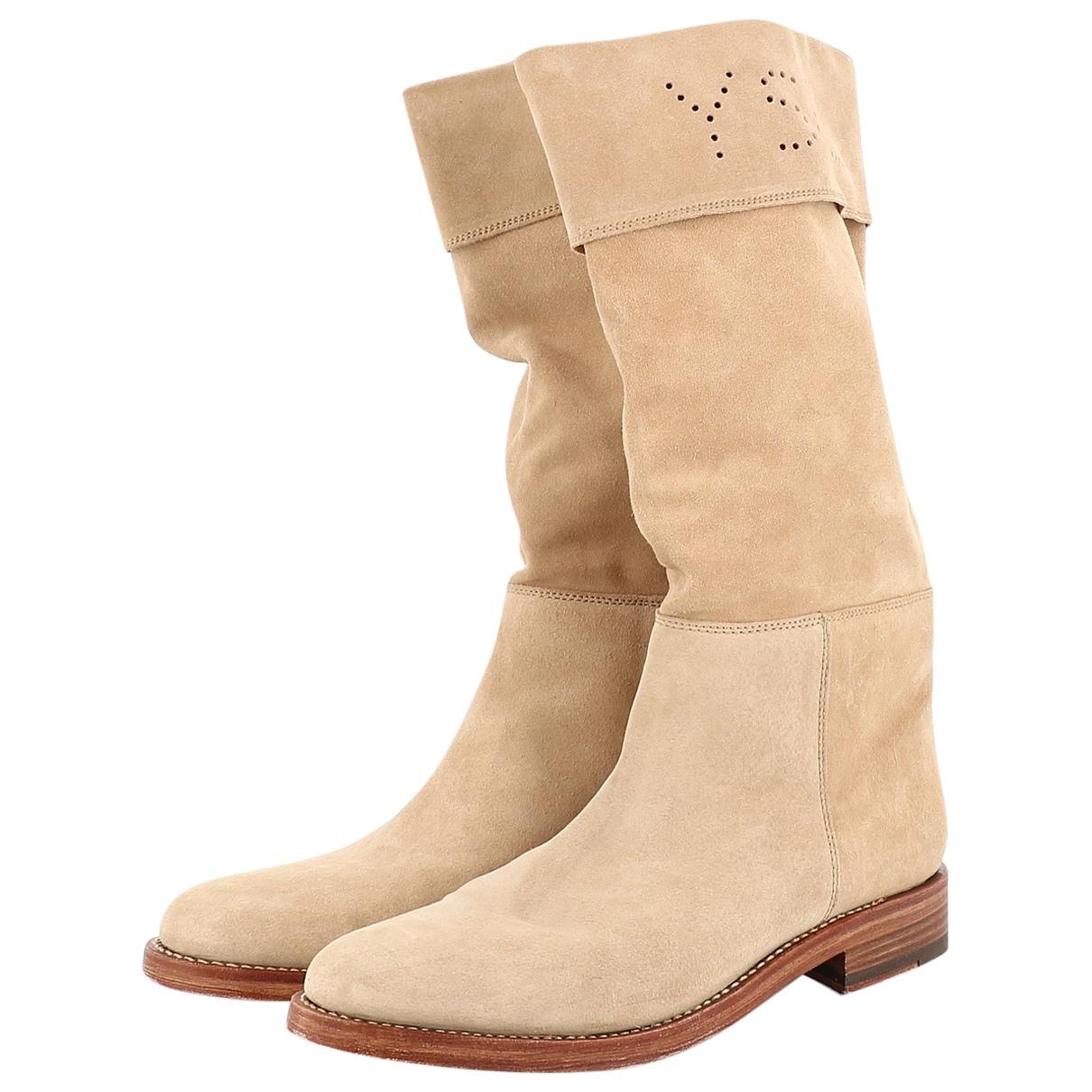 Yves Saint Laurent \N Beige Suede Boots for Women 39.5 EU