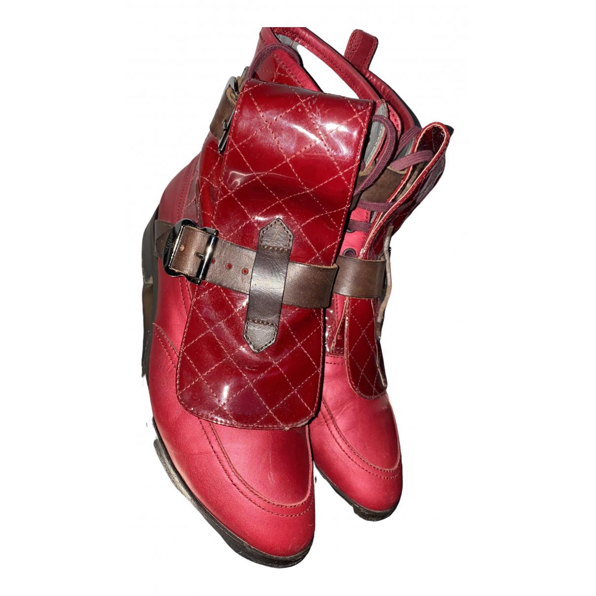 Vivienne Westwood - Bottes   pour femme en cuir - bordeaux