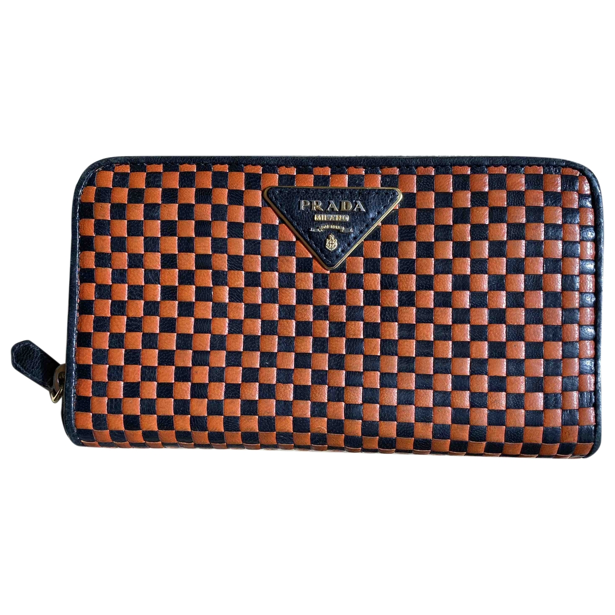 Prada \N Portemonnaie in  Orange Leder
