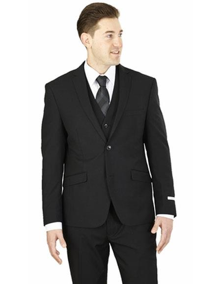 Men's Lorenzo Bruno Slim Fit 3 Piece Solid Black Double Vents Suit