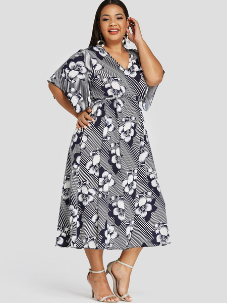 YOINS Plus Size White Floral Print V-neck Bell Sleeves Dress