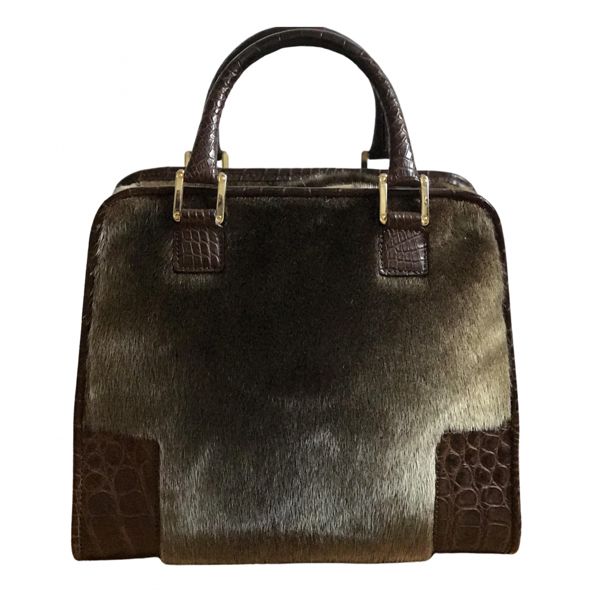 Loewe Amazona 75  Brown Raccoon handbag for Women N