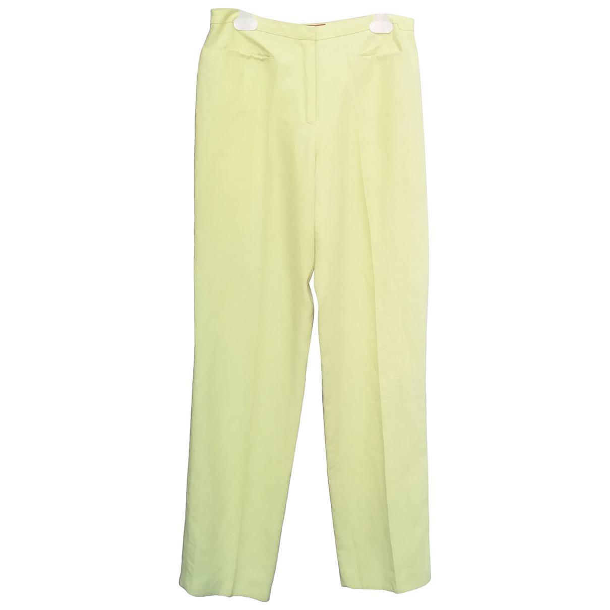 Kenzo \N Yellow Linen Trousers for Women 42 FR