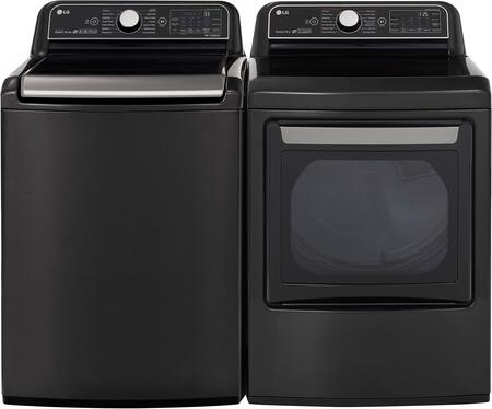 Black Steel Paundry Pair with WT7900HBA Top Load Washer and DLEX7900BE Electric