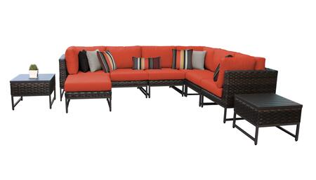 Barcelona BARCELONA-09b-BRN-TANGERINE 9-Piece Patio Set 9b with 3 Corner Chairs  3 Armless Chairs  1 Ottoman and 1 End Table - Beige and Tangerine