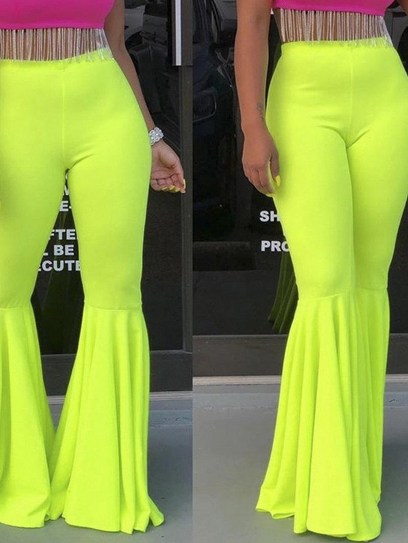 Ericdress Slim Plain Full Length Bellbottoms Pants