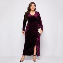 Plus Velvet Split Hem Maxi Fitted Dress