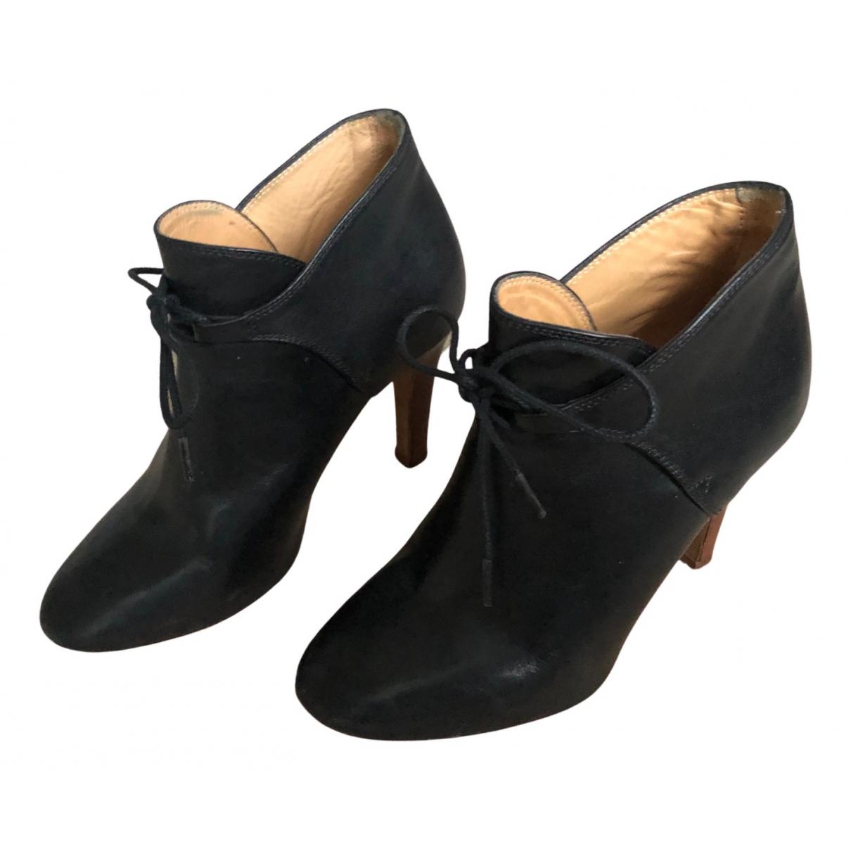 Sezane \N Stiefeletten in  Schwarz Leder