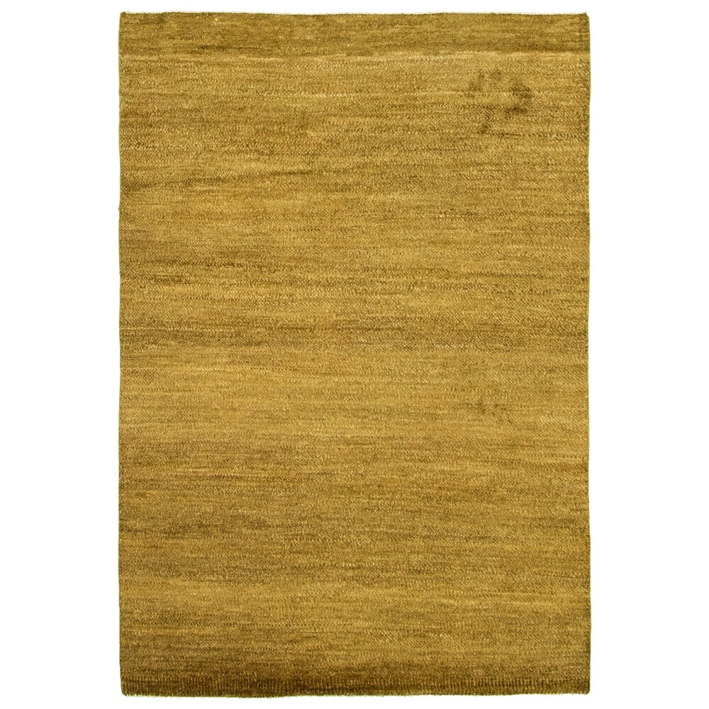 ECARPETGALLERY  Hand-knotted Pak Finest Gabbeh Olive Wool Rug - 4'1 x 6'0 (Olive - 4'1 x 6'0)