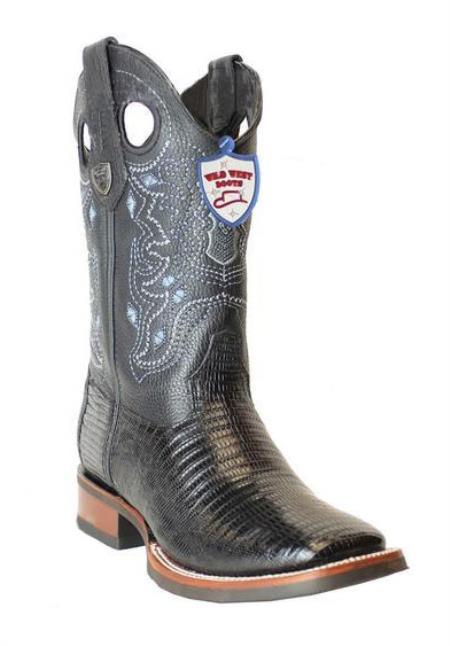 Men's Genuine Teju Lizard Black Wild West Square Toe Leather Boots