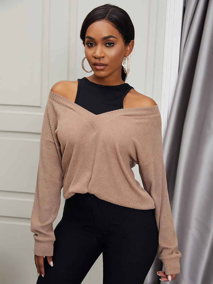 LW Lovely Casual Off The Shoulder Khaki Sweater