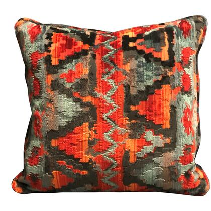 Sachi Love Collection PBRA2331-2424-DP Double sided  24 x 24 Plutus Sachi Love Red  Blue and Orange iKat Luxury Throw