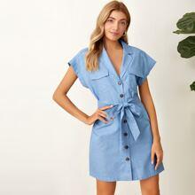 Flap Pocket Button Front Self Belt Shirt Dress