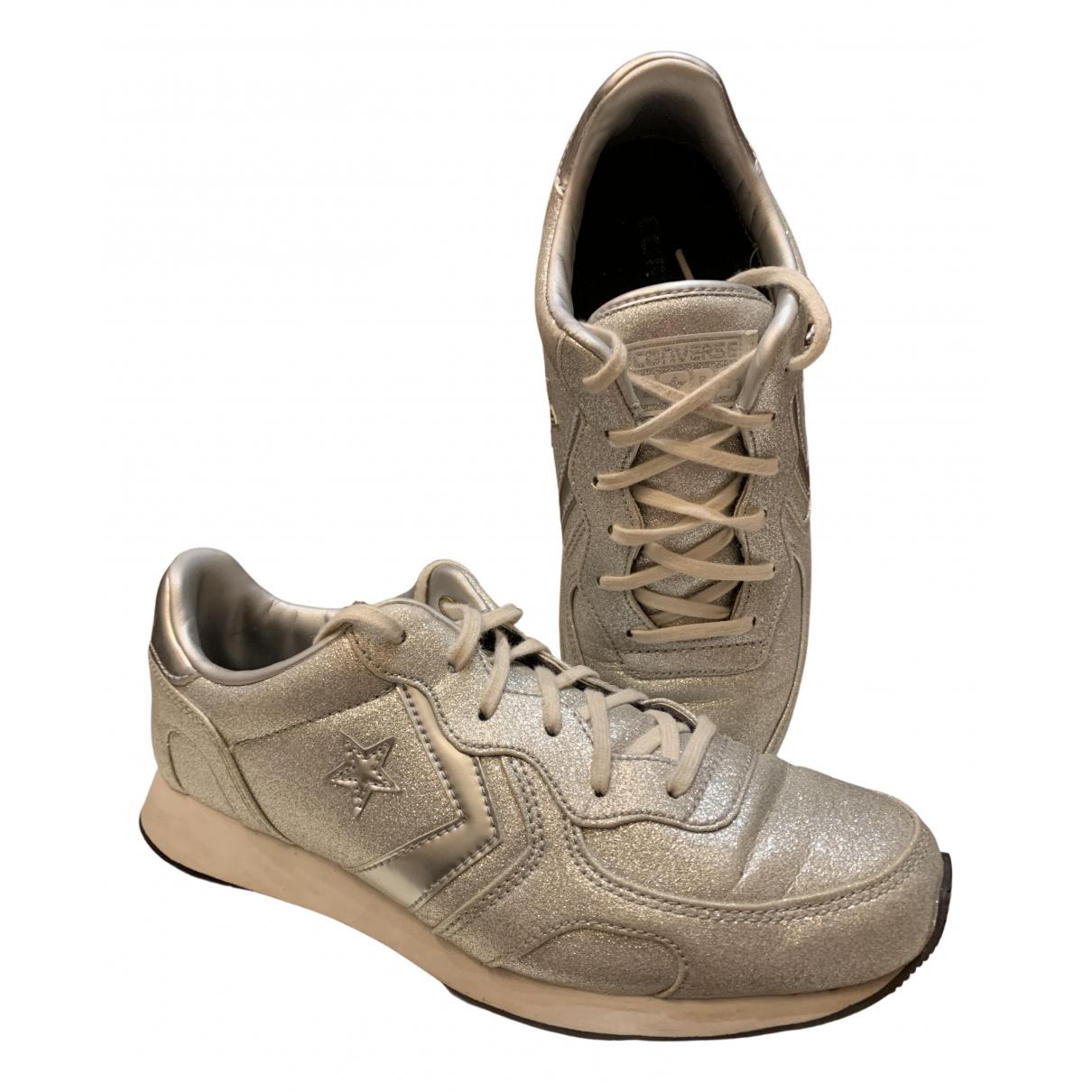 Converse - Baskets   pour femme en cuir - argente