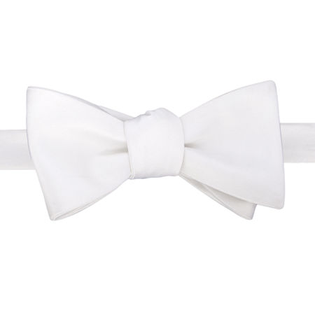 Stafford Satin Solid Self-Tie Bow Tie, One Size , White