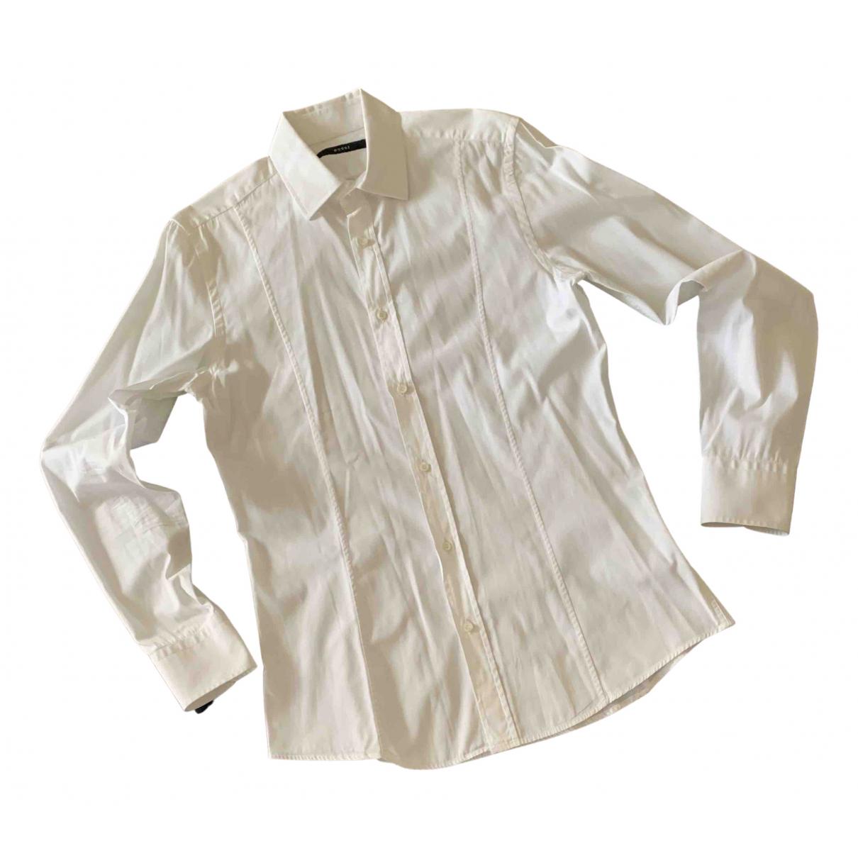 Gucci \N White Cotton Shirts for Men 39 EU (tour de cou / collar)