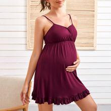Umstandsmode Slip Kleid mit V Kragen und Raffungsaum