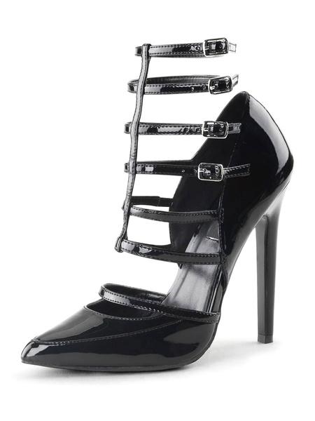 Milanoo Tacones altos para mujer Punta puntiaguda Tacon de aguja Lentejuelas Sexy Vintage Zapatos negros