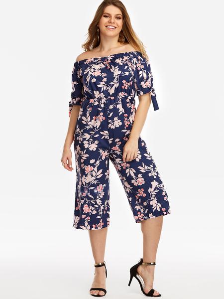 Yoins Plus Size Navy Self-tie Floral Print Off The Shoulder Jumpsuit