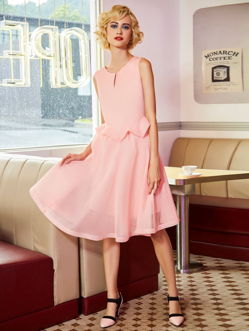 Ericdress Scoop Mesh Patchwork A Line Dress