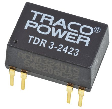 TRACOPOWER TDR 3 3W Isolated DC-DC Converter Through Hole, Voltage in 18 → 36 V dc, Voltage out ±15V dc